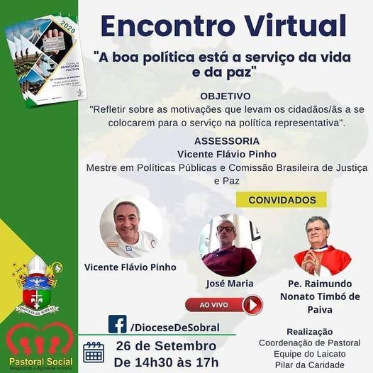 Diocese de Sobral realiza encontro online sobre política representativa